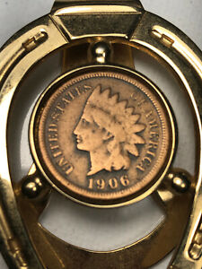 Authentic 1906 Indian Head Penny Gold Tone Horseshoe Good Luck Money Clip