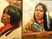 "2 Native American Indian Oil Paintings On 16"" x 20"" Canvas Peter Van Dusen Art"