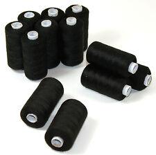 Hilo de coser negro Rodillo 12 cada 500m Hilo Syngarn Poliéster Costura