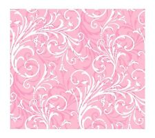 Girls White Scroll on Hot Pink Contemporary Wallpaper KD1724