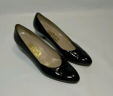 "SALVATORE FERRAGAMO Italy Womens 2"" Cuban Heels Shoes 8.5-AAA All Leather Black"