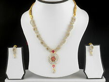UK Indian Bollywood Fashion Jewelry 22K Gold Plated Ad Necklace Earrings Set