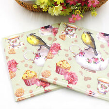 20PCS 2 Layers European Cups And Birds Printing Paper Napkins Xmas Party Gift