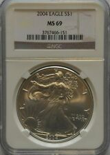 American Eagle MS 69 NGC Certified Silver Bullion Coins