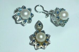 Gilded 585 Gold Pearls Ohrclipse + Pendant Earrings 14K White Sapphire Stones