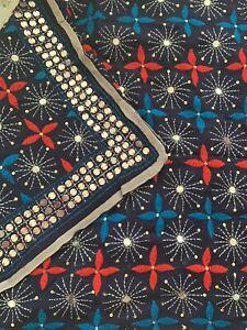 Women Phulkari Dupatta / Navy Blue / Embroidered / Indian