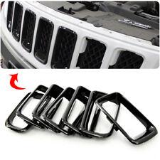 7X Black Front Grille Vent Hole Trim Frame 7pcs For Jeep Compass 2011-2016 Super