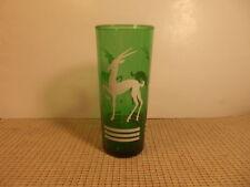 "Vintage Anchor Hocking Glass Forest Green Gazelle Design Tumbler 6 1/2"" X 2 7/8"""