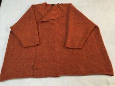Eskandar rust red orange melange wool cashmere boucle cardigan lagenlook oversiz