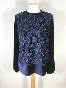 PHASE EIGHT Ladies Midnight Blue Velvet Lace Long Sleeve Top UK 8,10,12,18