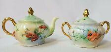 Antique 1905 Creamer & Sugar Bowl W/Lids Guilded Handpainted