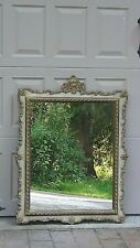 "ANTIQUE ITALIAN SOLID WOOD CARVED ORNATE GILT FRAME MIRROR 38""H x 28""W"
