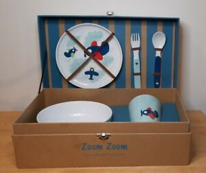 Reed & Barton Zoom Zoom Childrens Dinnerware Set Kids Plate Cup Bowl Utensils