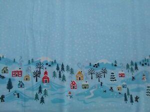 Snow Day, Christmas Border Print blue Lewis & Irene 100% Cotton Fat Quarter