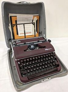 Vintage Olympia De Luxe Red Portable Typewriter w/ Case