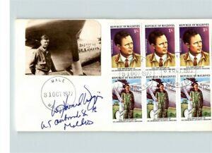 Charles LINDBERGH, 1977 Pilot, Block of 6 Republic of Maldives, Signed by U.S. A
