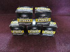 5 Dunlop Pro Squash Balls Double Dot Yellow