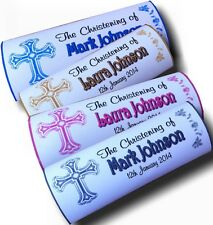 Personalised Wrappers Chocolate Bars Favours x 12 CROSS Design CHRISTENING