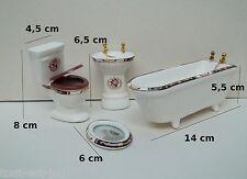 salle de bain complète,miniature en porcelaine,maison de poupée,toilette, W.C.