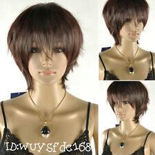 Latest New Short Dark Brown Woman's Like real hair Wig +free wig cap NO:063