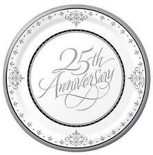 "25th Silver Wedding Anniversary Dessert/Snack/Lunch Plate approx 18cm (7"") 18pk"