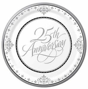 25th Wedding Anniversary Dessert/Snack/Lunch Plate approx 18cm 18pk Silver
