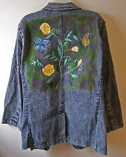 Handpainted Denim Blazer with Yellow Roses and Colorful Butterflies