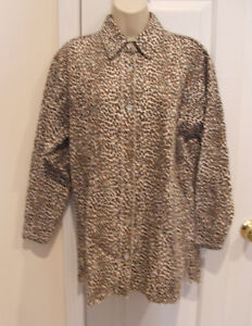 new/pkg frederick's of hollywood leopard print robe sleepshirt made in USA small