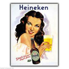 Cartello in Metallo Muro Targa HEINEKEN BIRRA 1947 Retrò Vintage Poster Pubblicità Bar
