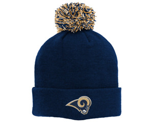 Outerstuff NFL Youth (8-20) Los Angeles Rams Beanie With Pom, OSFM