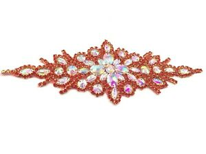 Red Colour Iron on Motif Hand Sewing on Bridal Dress Belt Clothes Appliques Belt