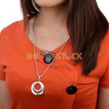 Collier pour femme cercle double incrusté de pierre diamant zircon chaine longue