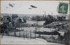 French Aviation 1912 Postcard: 'Angers, Pasage d'Aeroplanes Filant sur Saumur'