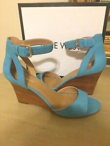 NIB Nine West Womens Floyd Size 10 Turquoise Ankle Strap Leather Wedge Heels