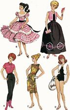Vintage Doll Clothes PATTERN 7137 for 11.5 in Barbie Midge Francie  by Mattel