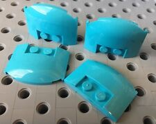 Lego 93604 Medium Azure Blue Wedge 3x4x2/4 Triple Curved Plate New Lot Of 4