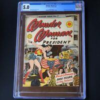 Wonder Woman #7 (1943) 💥 CGC 5.0 💥 WW for President! Golden Age Key! DC Comics