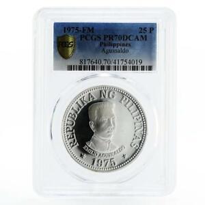 Philippines 25 pisos 1st President Emilio Aquinaldo PR70 PCGS silver coin 1975