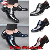 US Mens Fashion Lace Up Leather Oxfords Dress Tuxedo Formal Business Work Shoes