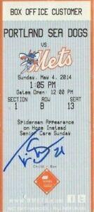 Travis Shaw Red Sox Brewers signed ticket stub autograph not JSA Beckett PSA