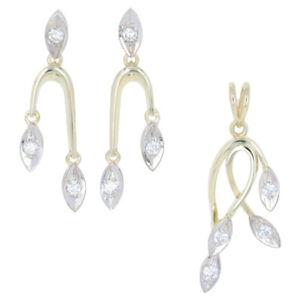 61ctw Round Brilliant Diamond Earrings & Pendant Set - 18k Yellow Gold Leaves