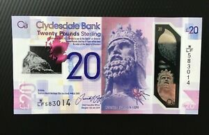 CLYDESDALE BANK SCOTLAND 20 POUNDS 2019 GEM UNC P-229R POLYMER VARIOUS PREFIXES