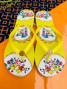 NWT Tory Burch PVC Flip Flop Flops Thong Sandals Yellow Ditsy Logo MANY SIZES