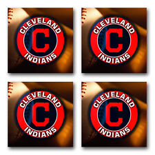 Cleveland Indians Baseball Rubber Square Coaster set (4 pack) SRC2007