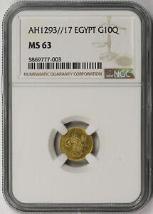 AH1293//17 Egypt Gold 10 Qirsh G10Q MS 63 NGC Abdul Hamid II