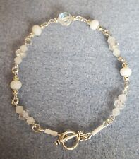 White and clear crystal silver plated toggle bracelet