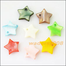 20 New Charms Natural Shell Loose Star Flat Pendants 12mm Mixed