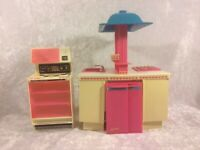 Vtg Barbie Dream Kitchen Stove Oven Microwave Fridge Dishwasher Mattel 1978 1984