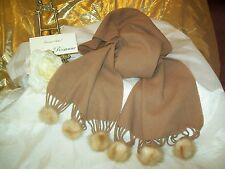 MINK Tassels on Pure Wool Scarf Made in Italy by Pomelo NEW Camel Color Pretty!
