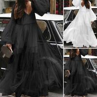 Damen Mode V Neck Langrm Kleid Maxikleid Abendkleid Elegant Oversize Ballkleid